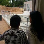 Principal Sharon Briscoe shows progress of construction at Mary Lin Elementary.